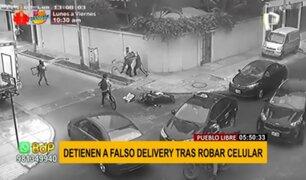 Pueblo Libre: detienen a falso delivery tras robar celular a transeúnte