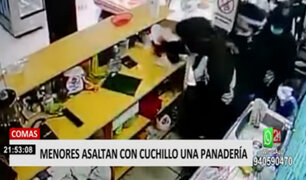 Comas: PNP detuvo a 2 de los 7 adolescentes que asaltaron con cuchillo una panadería