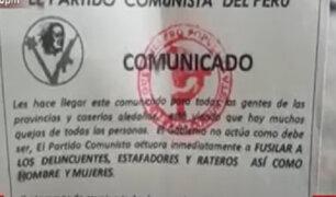 Huánuco: hallan volantes alusivos al partido comunista en el que advierten que van a limpiar la zona