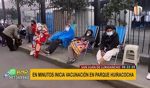 SJL: decenas esperan más de 8 horas para ser vacunados en parque Huiracocha