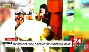 Cajamarca: ronderos castigan a chicotazos a pareja por robar dinero