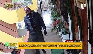 Surco: ladrón ingresa con carro de compras a condominio y roba zapatos