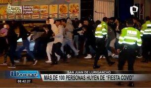 Fiesta Covid en SJL: más de 100 personas huyen tras lanzar botellas de licor a la policía