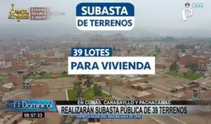 Realizarán subasta pública de 39 terrenos en zonas de Comas, Carabayllo y Pachacámac