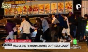 Más de 100 personas huyeron de fiesta covid en San Juan de Lurigancho