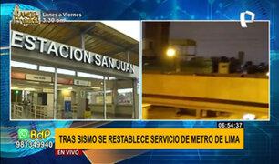 Metro de Lima restablece servicio en su totalidad tras fuerte sismo