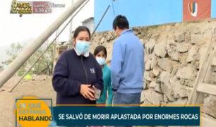 VMT: mujer salvó de morir aplastada por enormes rocas tras fuerte sismo