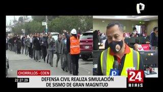 Chorrillos: realizan simulación de sismo en sede del COEN