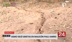 Barranco: sismo de magnitud 6.0 dejó grietas en malecón Paúl Harris