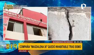Compañía de Bomberos en Pueblo Libre quedó seriamente afectado tras sismo
