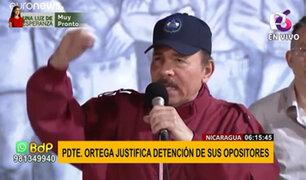 """Nicaragua: presidente Ortega justificó detención de sus opositores por ser """"criminales"""""""