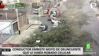 Pueblo Libre: conductor embiste moto de delincuente que había robado 2 celulares