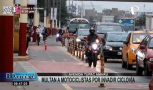 Infractores en av. Túpac Amaru: multan a motociclistas por invadir ciclovía