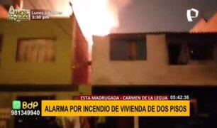 Carmen de la Legua: incendio por presunto corto circuito afectó vivienda de dos pisos
