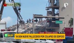 Derrumbe en Miami: se elevan a 9 los fallecidos por colapso de edificio