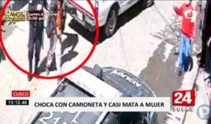 Cusco: auto protagoniza choque y atropello en calle