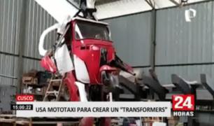 """Cusco: emplean mototaxi para crear un personaje inspirado en """"Transformers"""""""