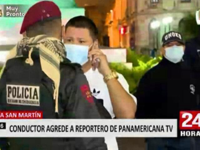 Sujeto en aparente estado de ebriedad entró con su auto a la Plaza San Martín y agredió a reportero