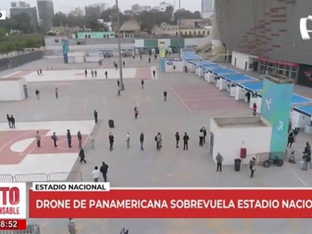 Drone de Panamericana sobrevuela el Estadio Nacional para cubrir las votaciones