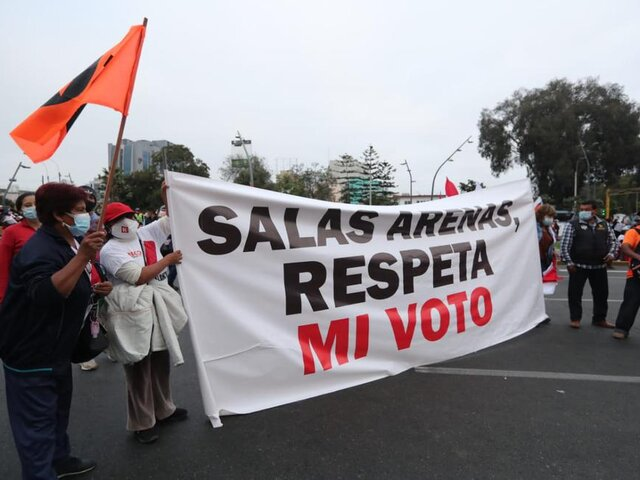 Seguidores de Fuerza Popular realizan marcha en defensa de la candidatura de Keiko