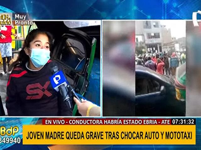 Ate: mujer en presunto estado de ebriedad impacta mototaxi con gestante en su interior