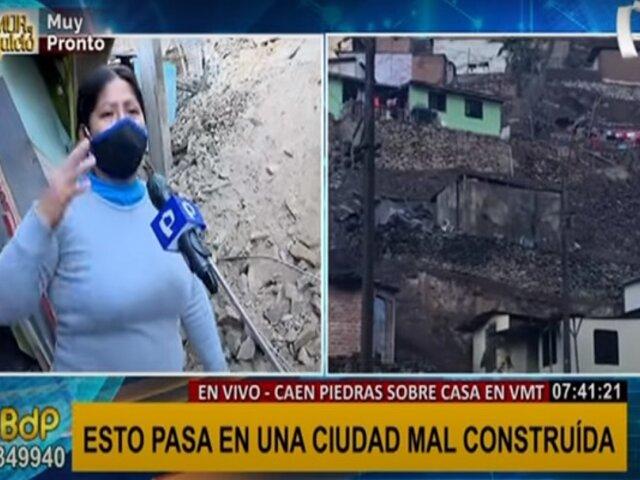 Familia salvó de morir tras derrumbe de pirca en VMT: madre e hijos se quedan en la calle
