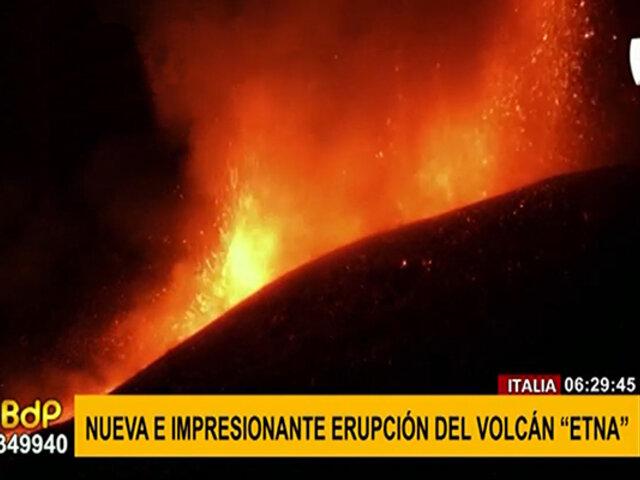 ¡Impresionante! volcán Etna de Italia entra en erupción de manera espectacular