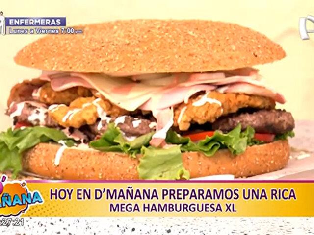 ¡De infarto! HOY se prepara una deliciosa mega hamburguesa XL en D'Mañana