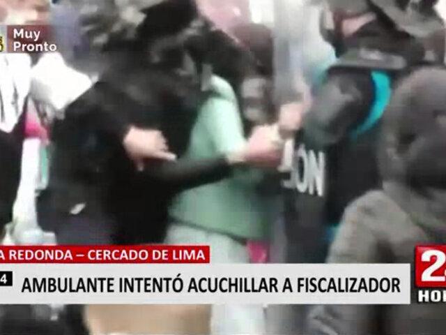 Cercado de Lima: intervienen a mujer que intentó agredir a fiscalizadores