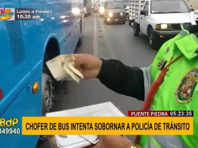 Puente Piedra: chofer de bus es captado intentando sobornar a policía de tránsito