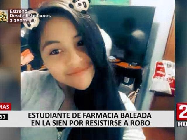 Comas: estudiante de farmacia baleada en la sien por resistirse a robo