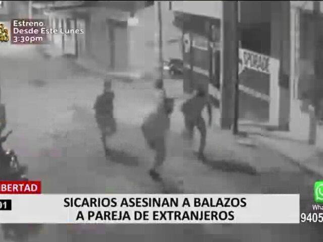 Cámara registró a sicarios asesinando de varios disparos a pareja de extranjeros en Trujillo