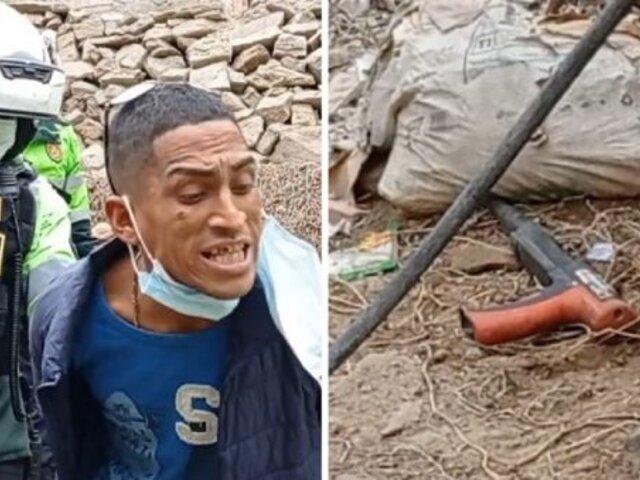 Capturan a presuntos delincuentes que portaban arma artesanal en un parque de Surco