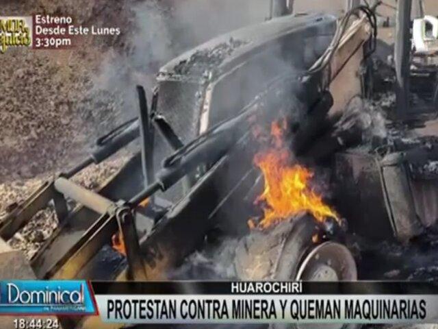 Huarochirí: queman maquinarias durante protesta contra la minería