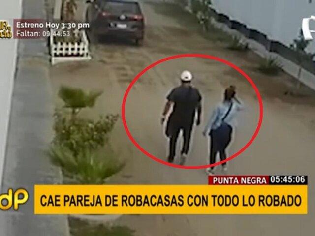 Punta Negra: cae pareja de robacasas cuando huían en camioneta repleta de electrodomésticos
