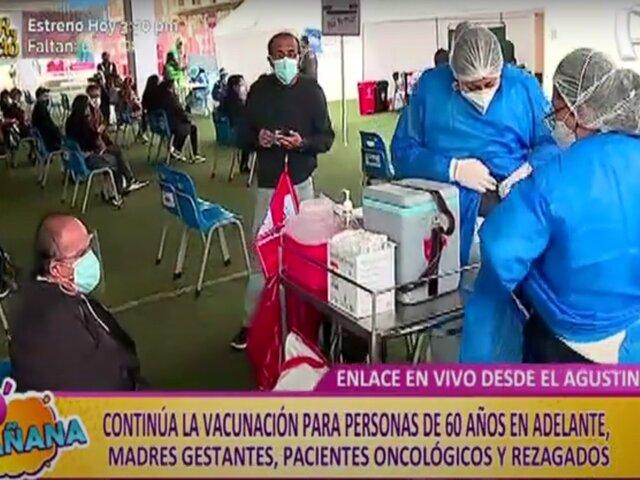 El Agustino: vacunación continúa para adultos mayores, madres gestantes, pacientes oncológicos y rezagados