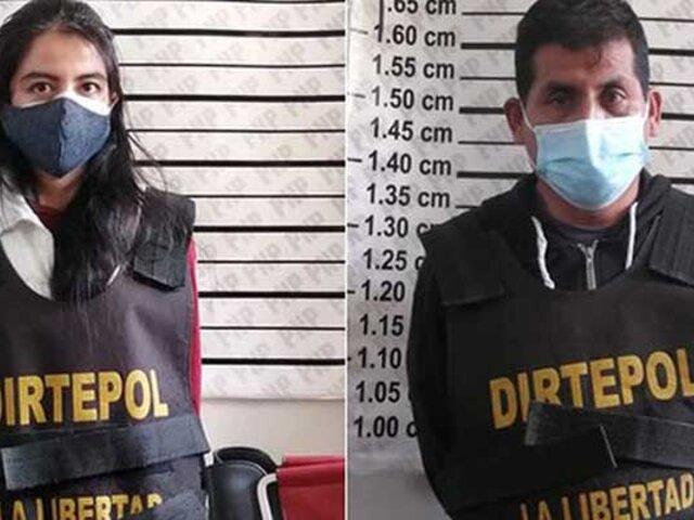 La Libertad: capturan pareja que pedía dinero a empresario para no difundir sus videos privados