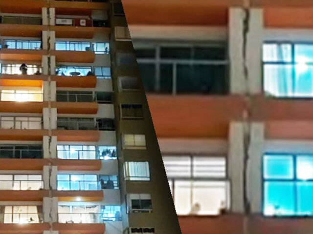 Temblor ocasiona caída de revestimiento de junta sísmica en edificio de Jesús María