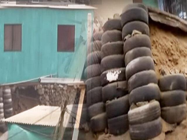 Chorrillos: Base se cae y vivienda queda en el aire tras sismo de 6.0