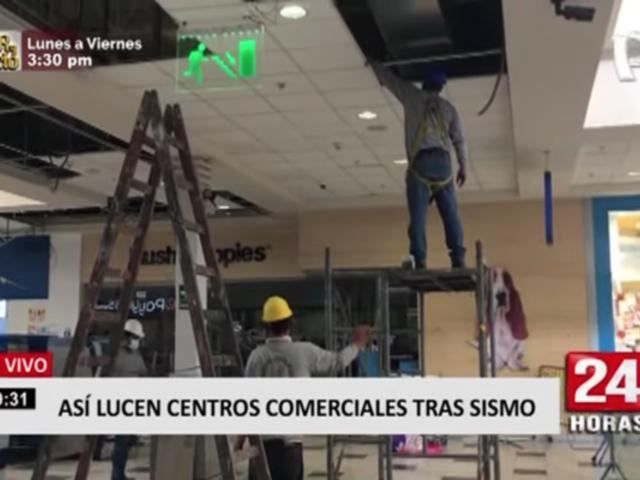 Plaza Lima Sur: daños en techo falso tras sismo vienen siendo arreglados