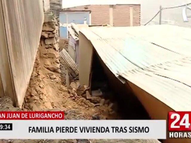 SJL: familia quedó damnificada tras caída de muro de piedras contra su vivienda durante sismo