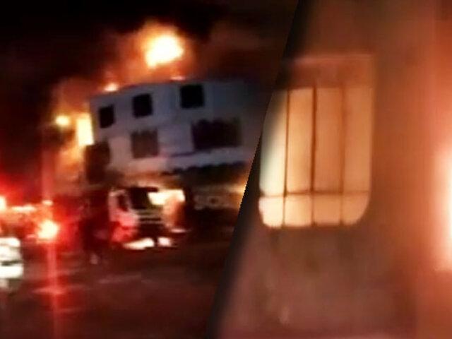 Ica: incendio de gran magnitud consume tres ferreterías