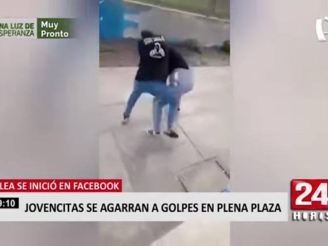 Jovencitas se agarraron a golpes en Plaza de Armas de Huacho
