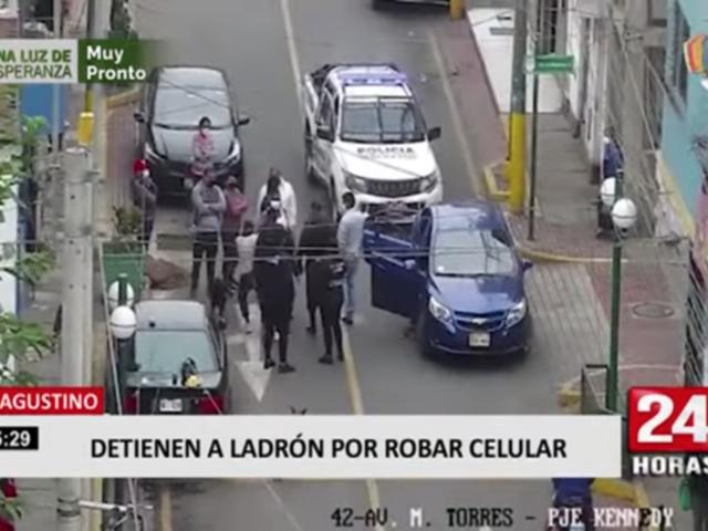 El Agustino: cae ladrón que robó celular y otro que intentó llevarse una mototaxi