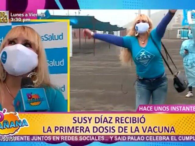 """Susy Díaz recibe primera dosis contra la covid-19 y recomienda la """"dieta de la vacuna"""""""