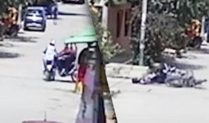 Tumbes: dos motociclistas resultan heridos tras chocar aparatosamente