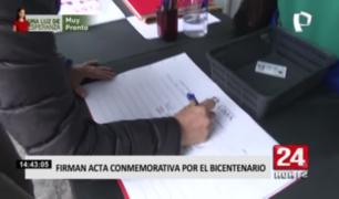 Niños, jóvenes y adultos están invitados a firmar acta conmemorativa por el Bicentenario