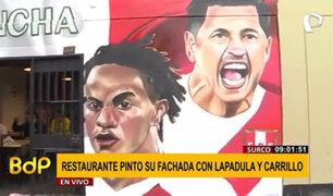 Surco: restaurante pinta su fachada con los rostros de Lapadula y Carrillo