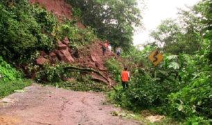 San Martín: intensas lluvias provocan derrumbes que bloquean vía Tarapoto-Yurimaguas