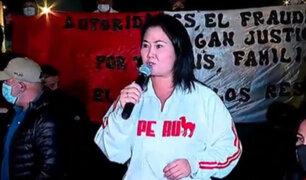 Keiko Fujimori acudió a plantón de simpatizantes de Fuerza Popular